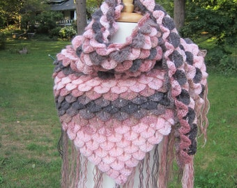 PInk crochet mohair shawl with tassels crochet wrap crochet stole pink and purple corcodile stitch