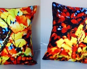A Bright Autumns Day: Organically Produced, High Quality, Digitally Printed Cushion Duo, Multi Colour Print