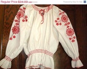 60% SALE Gorgeous Red Embroidery Peasant Hippy Gypsy Boho Blouse sz S