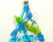 Pendant of Blue & Green w/ Dichroic Fused Glass