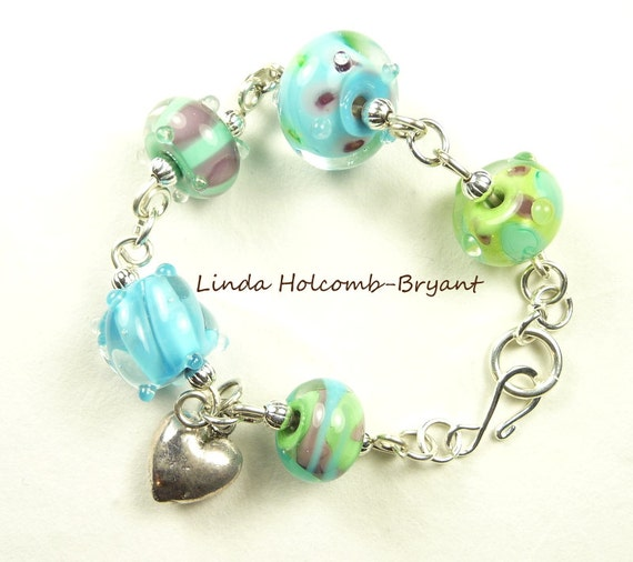 Silver Bracelet of Cool Blue Lampwork Beads w/ Heart Charm