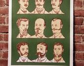 Facial Hair of the 20th Century Print Green