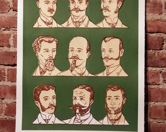 Facial Hair of the 20th Century Print Green