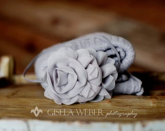 Newborn Cheesecloth, Cheesecloth Wrap Set, Baby Headband, Newborn Prop, Gray Cheesecloth, Baby Wrap, Newborn Photo Prop