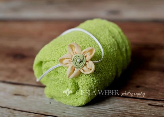 Stretch Newborn Wrap, Newborn Photo Prop, Green Baby Stretch Wrap Set, Green Newborn Wrap, Stretch Knit Newborn Wrap, Green Baby Wrap