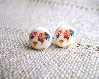 World Map Earring studs- Map of the world-  Whole Wide World- Colored world earrings- World Stud Earrings
