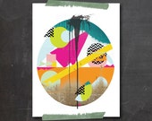 Wall Art Geometric Abstract PRINT, Original Collage llustration PRINT, Modern Pattern Art PRINT