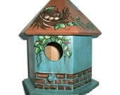 Teal & Brown Bird House -  Hand Painted Bird House