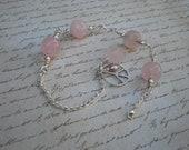 Pale peace anklet, rose quartz, sterling silver, peace sign charm, OOAK, rose quartz flower, pink pearl