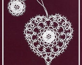 Tatted Lace Bookmark by Jan - White Rose Heart - Martha Ess Design
