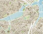 Boston Map Print 11x14 Large Print