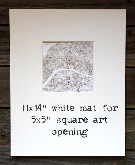 11x14 White Mat for 5x5 square art
