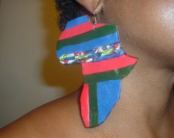 Leather earrings, big Africa design and african fabric.(Reduced from 30.00)