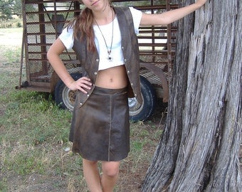 Cute and Groovy Leather Mini Skirt and Vest 1960s