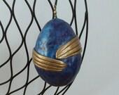 holiday ornament blue gold dragon egg Christmas ornament Christmas decoration holiday decoration fantasy decoration dragon egg decoration