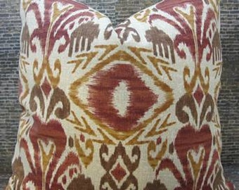 SALE Outdoor Designer Pillow Cover 12 x 16, 16 x16 - Outdoor Ikat Canyon Red