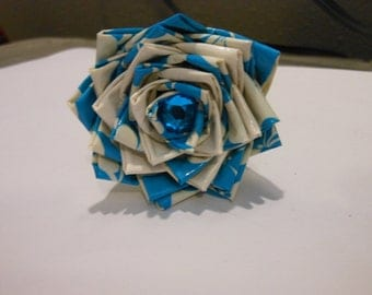 Blue and White Floral Duct Tape Flower Pen
