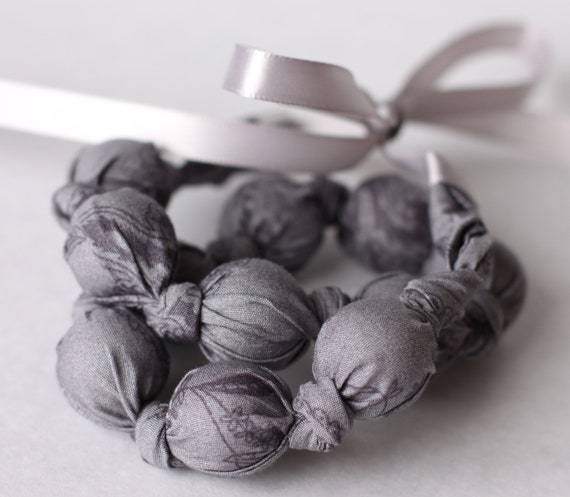 Charcoal Gray lace Teething Necklace, Breastfeeding Necklace, Nursing Necklace, Fabric Necklace