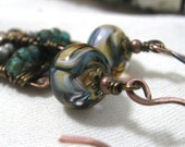 Copper Earrings With Lamp Work Beads Czech Glass and Bronze Mixed Metal Emerald, Teal, Tan