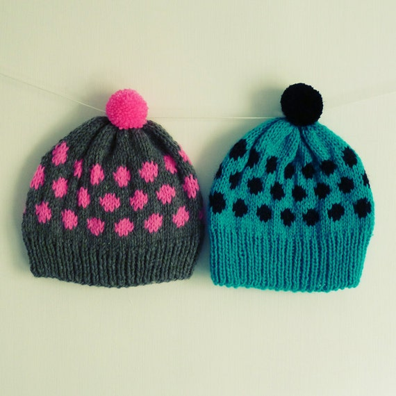 Knitted Beanie Patterns For Adults : Beanie knitting Pattern Hat polka dots baby / Adult 7 sizes