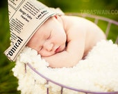 Newspaper hat boy photo prop for newborns - Ready To Ship