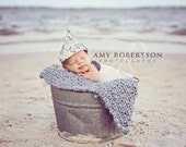 Nautical newspaper hat newborn 6-12 months photo prop for boys - Ready To Ship