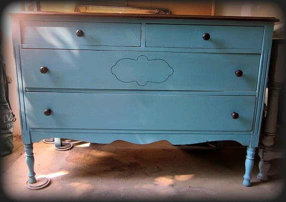 Cottage Turquoise Blue Dresser w/ Mirror  RESERVED for Jenny