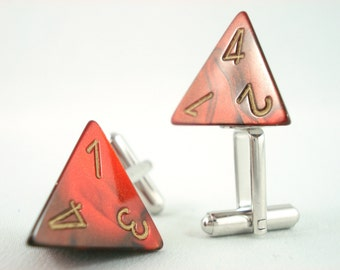 Premium Gemini Metallic Red Black and Gold D4 Cuff Links
