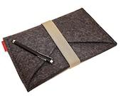 iPad Mini Wool Felt Sleeve/Case Double Pocket in Anthracite with Elastic Trim
