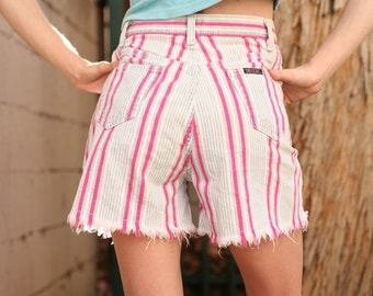 Striped 1980s 1990s high waisted shorts - fringe pink stripes small medium - sasson jean jeans