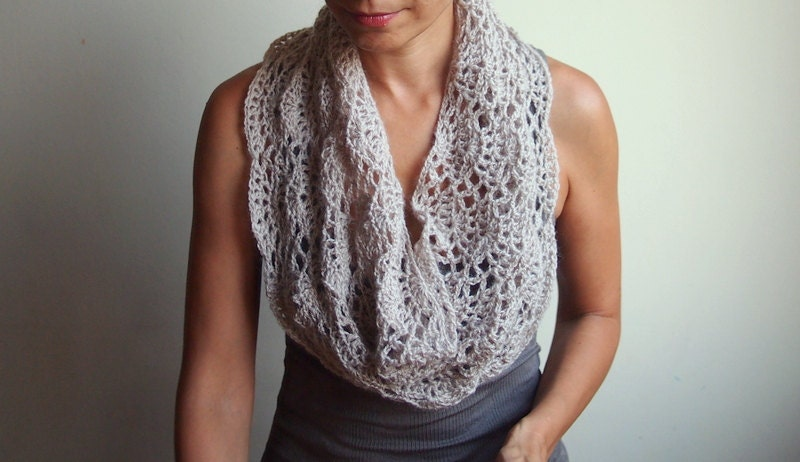 Infinity scarf Crochet PATTERN woman caplet lace by AnaDdesign