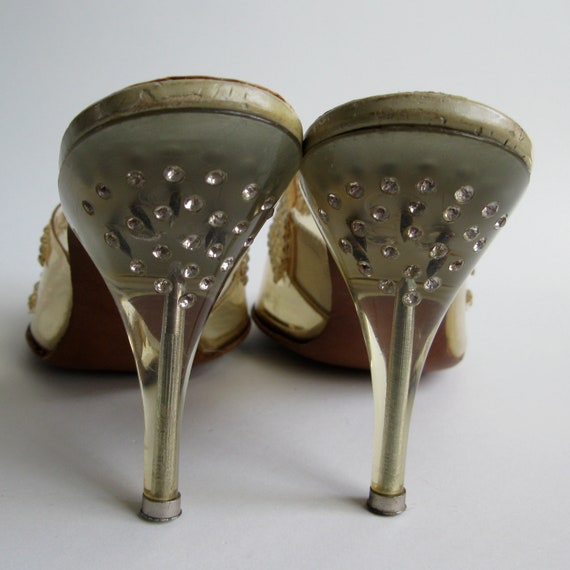 RESERVED Vintage 1950s Shoes Rhinestone Wedding Carved Lucite High Heel Bridal Fashions