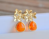 Orange Drop Earrings: Amber Orange Teardrop and Gold Cherry Blossom Stud Earrings. Jewel Fasion Drop Earrings.