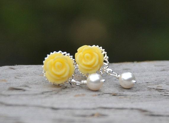 Yellow Rose and White Swarovski Pearl Post Earrings. Wedding Jewelry. Bridesmaids Earrings.