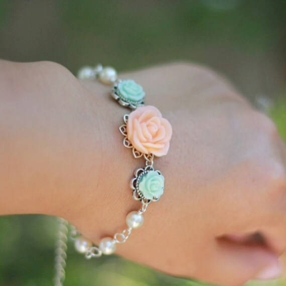 Peach Rose and Pastel Green Roses with Ivory Swarovski Pearls Bracelet Jewelry Gift for Her.  Free Shipping.