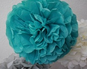 Tissue Paper Pom Pom - Carribean Teal - Dark Aqua- Nursery - Birthday - Christening - Baptism - Wedding Decor