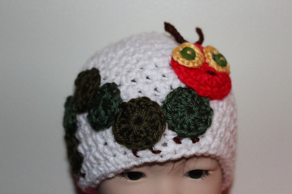 Baby Girl, Baby Boy, Crochet Baby Hat - Very Hungry Caterpillar - Baby Hat - White, 0 - 3 months, READY TO SHIP