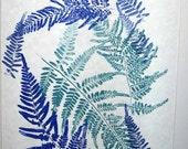 Fern print, Botanical relief print, blue & aqua, dancing ferns, teal and marine blue, 16 x 20 inches, hand-pulled original art print
