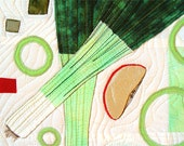 Kitchen Decor, Leeks Salad, Textile Art