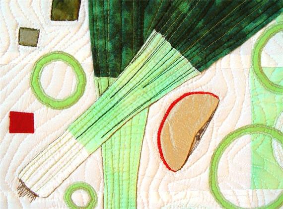Kitchen Decor, Leeks Salad, Textile Art