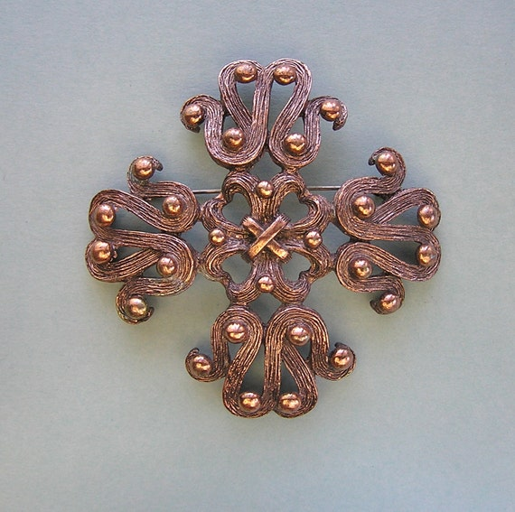 Vintage Copper Maltese Cross Shaped Signed Brooch by Tortolani