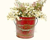 Red Galvanized Pail with Metal & Wood Handle - Industrial Decor