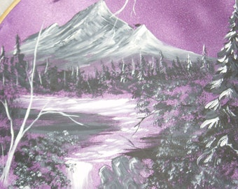 Painted Satin Fabric Picture in Embroidery Hoop, Purple Mountain Scene