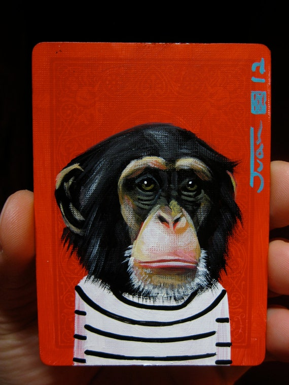 Chimp portrait N4 on a playing cards. Original acrylic painting. 2012