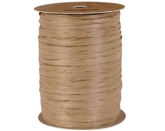 Natural Kraft Brown Raffia Ribbon, Rafia Ribbon for Wedding Favors, Packaging Rafia for Gifts, Party Favors, Party Decor - 100 yds.