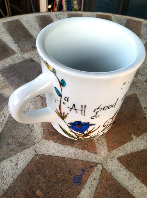 """Henry David Thoreau """"All good things are wild and free"""" literary quote mug with flowers and bees"""