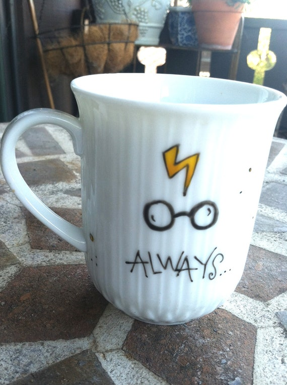 """Harry Potter """"Always"""" Literary Quote Mug - Small, white ribbed mug with lightning bolt, glasses, and owl"""