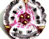 27mm Pink/Silver/Black Czech Glass Button-Reverse Painted-Flower Shape-Gold Luster