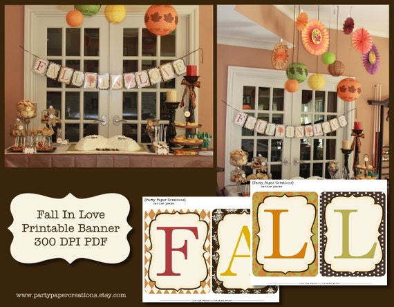 Fall In Love Bridal Shower or Wedding Printable Banner PDF Files  - INSTANT DOWNLOAD