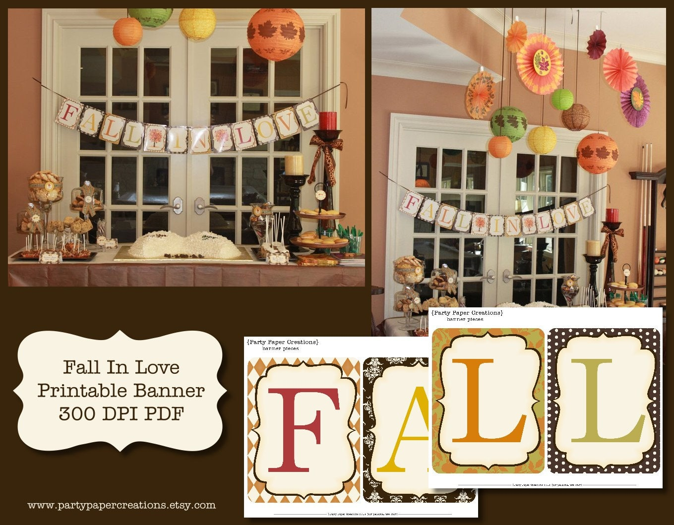 Fall In Love Bridal Shower Or Wedding Printable Banner PDF
